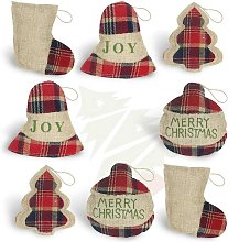 8 Pcs Burlap Christmas Ornaments 2020 Set, Funny