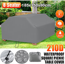 8 Seater Gray Outdoor Square Picnic Table Cover