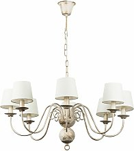 8 Way Chandelier in a Distressed White Finish with