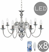8 Way Chandelier In Chrome + 4W LED Candle Bulbs -