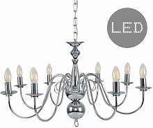 8 Way Chandelier In Chrome + 4W LED Filament