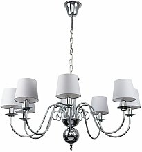 8 Way Chandelier In Chrome With Tapered Shades &