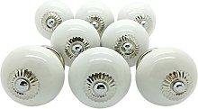8 x White Plain Round Ceramic Door Knobs Vintage