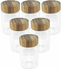 80 ml Glass Jars with Airtight Bamboo Lids, Sealed