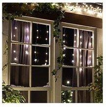80 Warm White Star Curtain Christmas Light