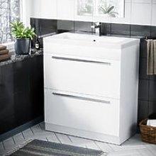 800 mm Cloakroom White Basin 2 Drawer Vanity