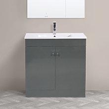 800mm 2 Door Gloss Grey Wash Basin Cabinet Floor