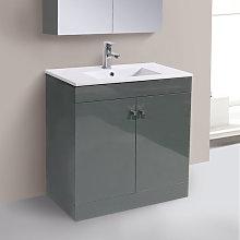 800mm 2 Door Gloss Grey Wash Basin Cabinet Vanity