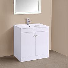 800mm 2 Door Gloss White Wash Basin Cabinet Floor