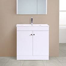 800mm 2 Door Gloss White Wash Basin Cabinet Vanity