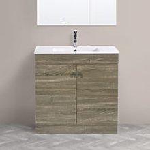 800mm 2 Door Grey Oak Effect Wash Basin Cabinet