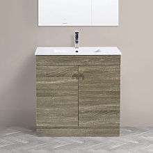 800mm 2 Door Grey Oak Effect Wash Basin Cabinet