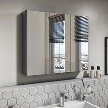 800mm Dark Grey Gloss Wall Hung Mirrored 3 Door