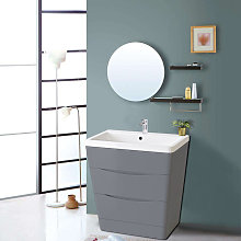 800mm Gloss Grey 2 Drawer Floor Standing Bathroom