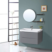 800mm Gloss Grey 2 Drawer Wall Hung Bathroom