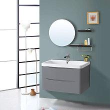 800mm Gloss Grey 2 Drawer Wall Hung Bathroom