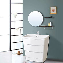 800mm Gloss White 2 Drawer Floor Standing Bathroom
