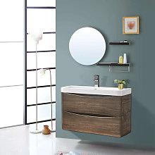 800mm Grey Oak Effect 2 Drawer Wall Hung Bathroom