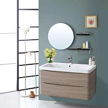 800mm Light Oak Effect 2 Drawer Wall Hung Bathroom