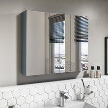 800mm Wall Hung Mirrored 3 Door Cabinet Gloss