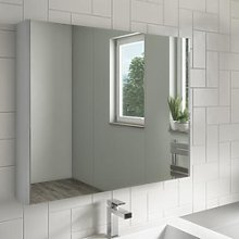 800mm Wall Hung Mirrored Bathroom Cabinet Grey