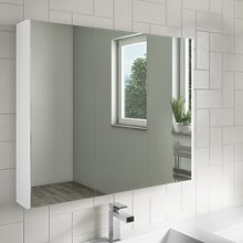 800mm Wall Hung Mirrored Cabinet White Gloss -