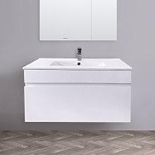 800mm White Wall Hung Vanity Sink Unit Ceramic