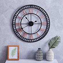 80CM Roman Numerals Metal Wall Clock Black