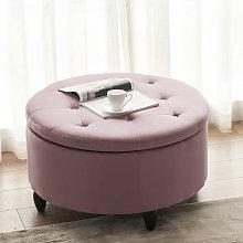 80CM Round Velvet Storage Footstool, Pink