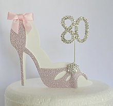 80th Birthday Cake Decoration Pink Shoe Age 80.