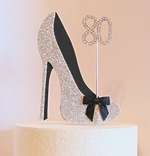 80th Birthday Cake Decoration Silver and Black