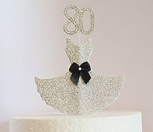80th Birthday Cake Decoration. Silver Dress with