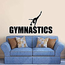 80x42cm Teen Sticker Gymnastics Girl Silhouette