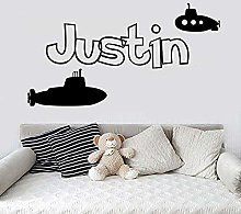 80x43cm Bathroom Sticker boy Name Submarine