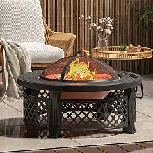 81CM Garden Fire Pit Brazier Heater BBQ Firepit
