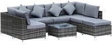 8pc Rattan Sofa Lounge Set Duluxe w/ 6 Seats Stool