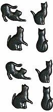8Pcs Cast Iron Matt Black Cat Shaped Cupboard