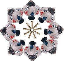 8pcs Floral Painted Porcelain Ceramic Drawer