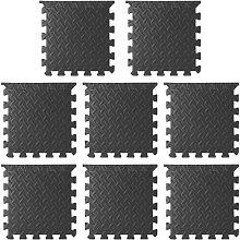 8pcs Soft Children Playing Mat EVA Foam Interlocking Mat Home Gym Tiles Floor Protective Pads Floor Foam Mats,model:Black