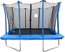 8x12ft Blue Rectangular Trampoline With Safety