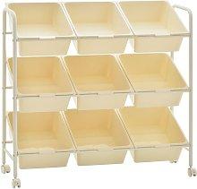 9-Basket Toy Storage Trolley White Plastic - White