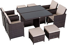 9 Pieces Rattan Dining Set Garden Furniture