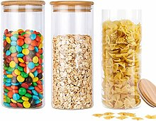950ml Glass Jars with Bamboo Lids, 3pcs Air Tight