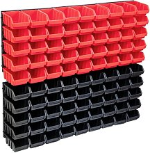 96 Piece Storage Bin Kit with Wall Panels Red and