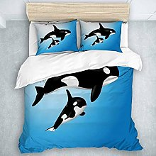 993 LICUNI Duvet Cover Set Orca Family Mother and