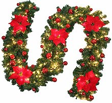 9Ft Christmas Garlands with Lights Balls and