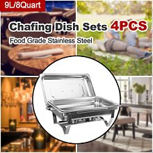 9l/8q 4 Pack Chafer Chafing Steel Catering Food