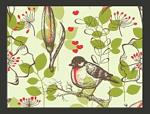 A Bird and Lillies in Vintage Style 2.7m x 350cm