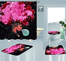 A-Generic 4Pcs shower curtain set with non-slip