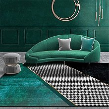 A-Generic Modern Chic Green Rug Black and White